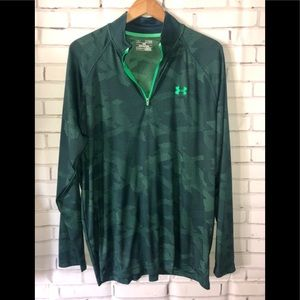 Mens Under Armor green pullover top sz XL